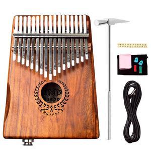 Image 3 - Muspor 17 tuşları EQ kalimba akasya başparmak piyano bağlantı hoparlör elektrikli pikap çantası kablo 17 tuşları Calimba Mini piyano kamfer