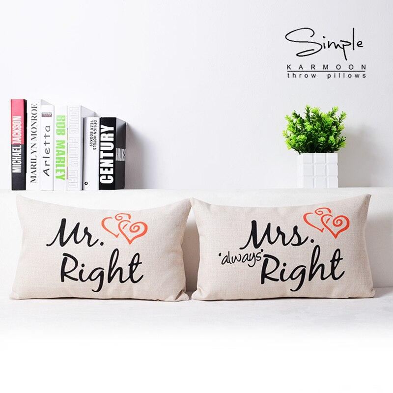 Cuscini Mr Right Mrs Always Right.Hot Price 19041 Mr Right Mrs Always Right Cushion Cover Lumbar