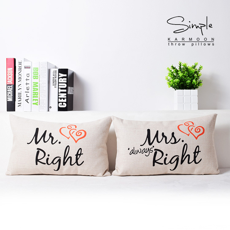 Mr Right Mrs Always Right Cushion Cover Lumbar Pillows Cases Anniversary Wedding Gifts Sofa Home Decor 30x50 fronha de travess