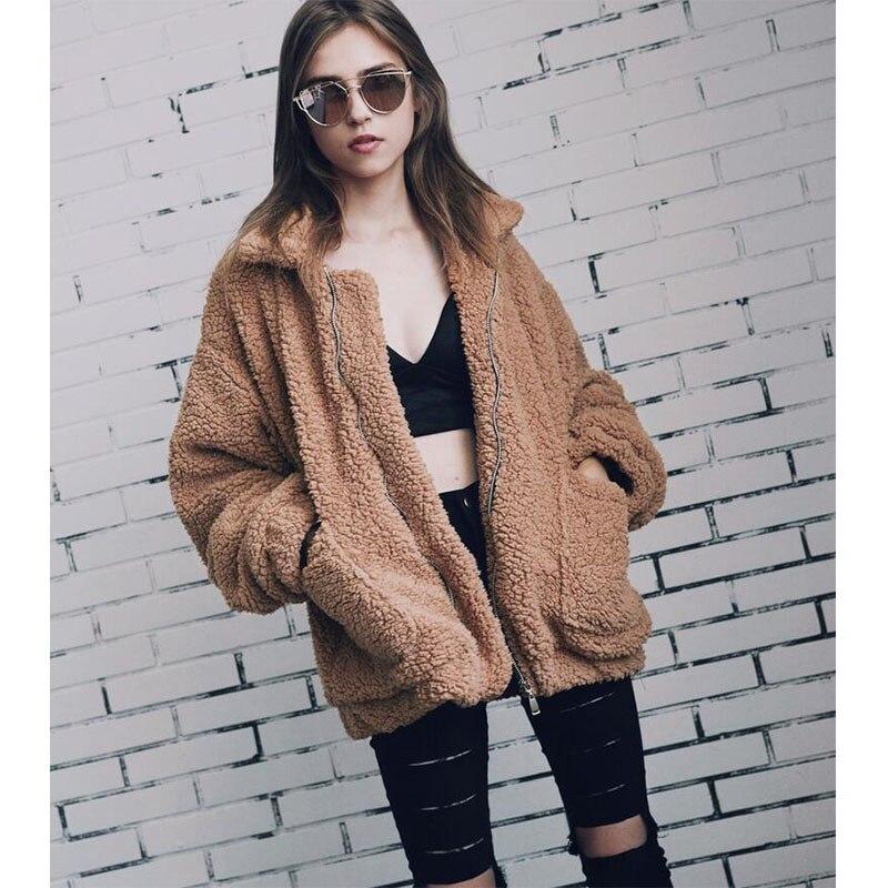Elegant Faux Fur Coat Women 2019 Autumn Winter Warm Soft Zipper Fur Jacket Female Plush Overcoat Pocket Casual Outwear AA-287