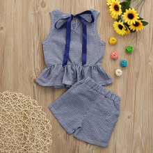 MUQGEW Fashion baby girl clothes O-Neck Plaid Tops+Plaid Shorts Set Outfit Clothes summer baby clothes set roupa infantil menina