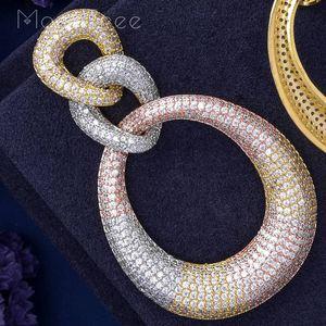 Image 4 - MoonTree Three Round Shape Dangle Full Micro Cubic 3Tone Color Copper Women Wedding Engagement Dress Big Earrings Bijoux