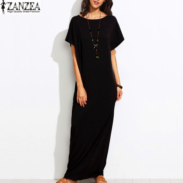Summer Womens 2017 Vintage O-Neck Short Sleeves Tunic Kaftan Vestido Loose Casual Party Solid Maxi Long Dress