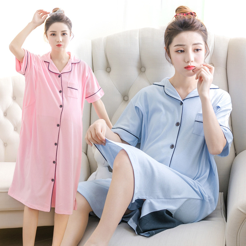For Pregnant Women Breastfeeding Pajamas Short-Sleeved Month Home Service Nursing Clothes Cotton Maternity Dress Sleepwear maternity breastfeeding clothes cotton sleepwear nursing pajamas suit pregnanci long sleeve for pregnant women clothes 70m0218
