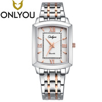 ONLYOU Lovers Watches Fashion Casual Square Quartz Clock Men Women Waterproof Stainless Steel Watch Wholesale