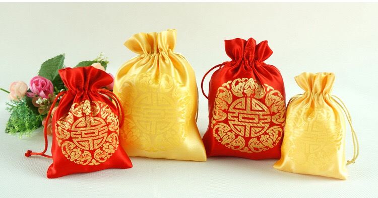 24PC Red Yellow New Year Christmas Organza Bags Wedding Decoration Favour Gifts Shinning Candy Packaging Pouches