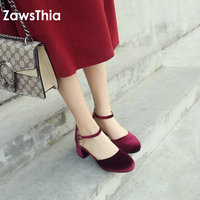 ZawsThia 2019 velvet velour sweet woman mary janes elegant lady summer shoes with pearl woman shoes sandals plus size 10.5 44 45