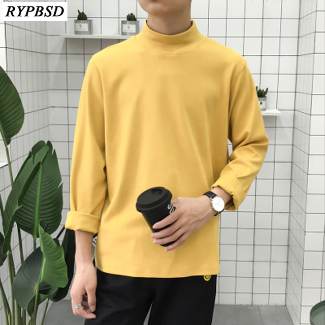 2019 New Solid Color Spring Autumn Brand Long Sleeve Men Turtleneck