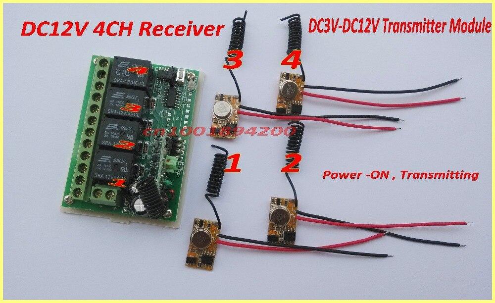 Remote Control Switches DC12V 4CH Relay Receiver MCU Controller+EV1527 Transmitter Remote Control 1CH Relay 1 Transmitter 12v dc 4ch relay 1 receiver