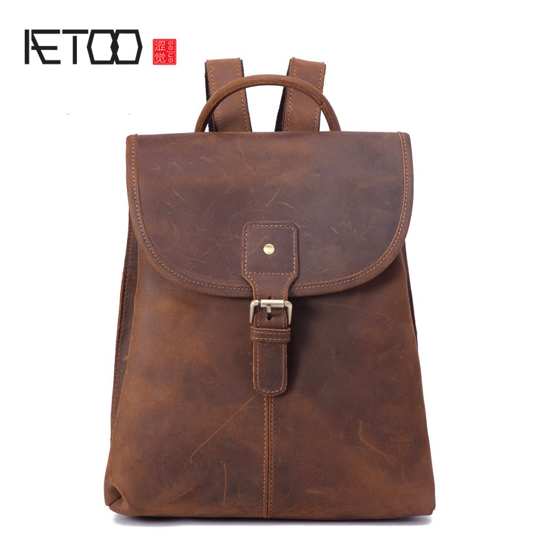 AETOO Leather backpack head layer crazy horse skin ladies shoulder bag retro travel backpack-in Backpacks from Luggage & Bags    1