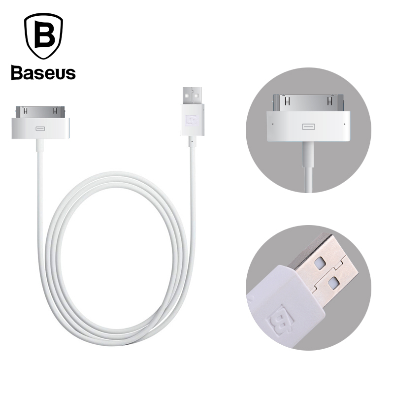 Baseus Original 1.2M 30pin USB data Cable For Apple Data Sync 30pin USB Cable For iPhone 4 4S ipad 1 2 3 itouch4 Charging Cable