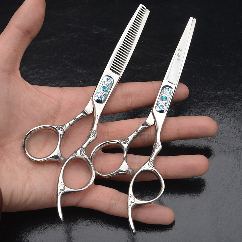 6inch Plum Flower Handle Hair Scissors Set for a Hairstyle Thinning/Cutting Sliver Barber Scissors Professional High Quality high quality professional 5 5 inch japan 440c hair cutting thinning scissors set 360 degree double rotary handle of blue screw