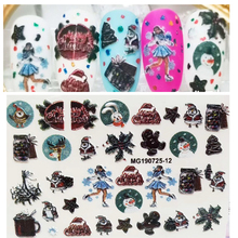 3D new arrived  Acrylic Engraved Nail Sticker snowman snowflake shape Water Decals Empaistic Slide Z0204