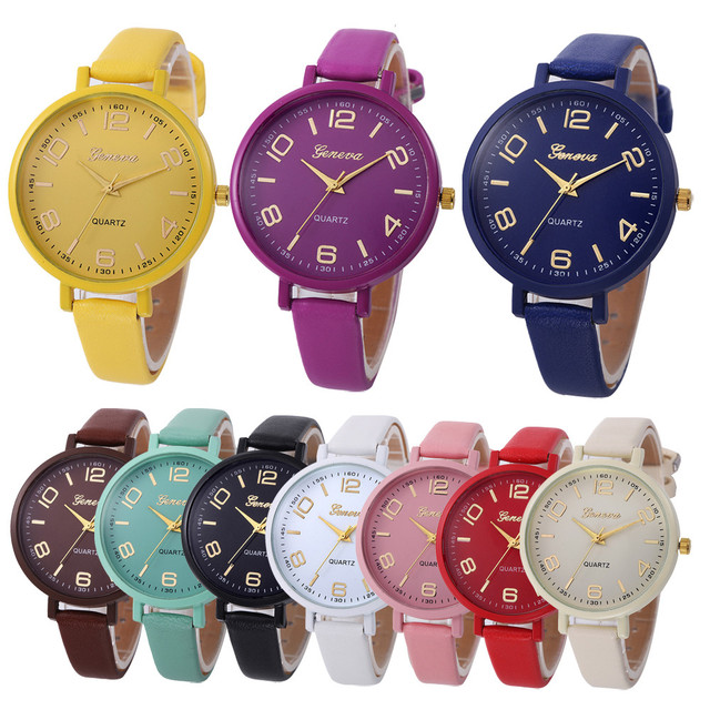 Women Casual Checkers Faux Leather Quartz Wrist Watch Luxury pulseira relogio fe