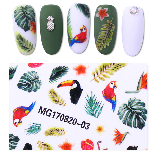 1 sheet toucan tropical rainforest 3d nail sticker flower bird nail art adhesive transfer sticker manicure