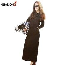 Women 2017 Spring Autumn Casual Loose Full Sleeve Solid Long Pullovers Hoodies Sweatshirt Hooded Dress Vestidos Plus Size 831487