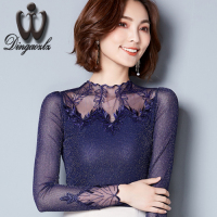 Dingaozlz New Korean Slim Mesh Stitching Hollow Out Lace Tops Embroidery Diamods Women Blouse Shirt Fashion