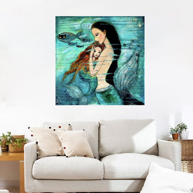 Home Decor Mermaid Canvas Painting Green Poster Print Mermaid Cartoon Canvas Painting Without Frame Wall Decoration DropShipping