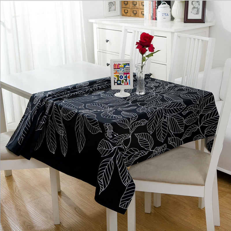 Senisaihon Modern Cotton Tablecloth Black White Leaves Pattern Table Cloth Wedding Banquet Washable Table Cover Textiles in Tablecloths from Home Garden