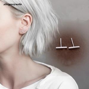 The New Temperament Wild Personality Simple Word Bar Couple Earrings Crystal Earrings Stud Earrings Earings Fashion Jewelry