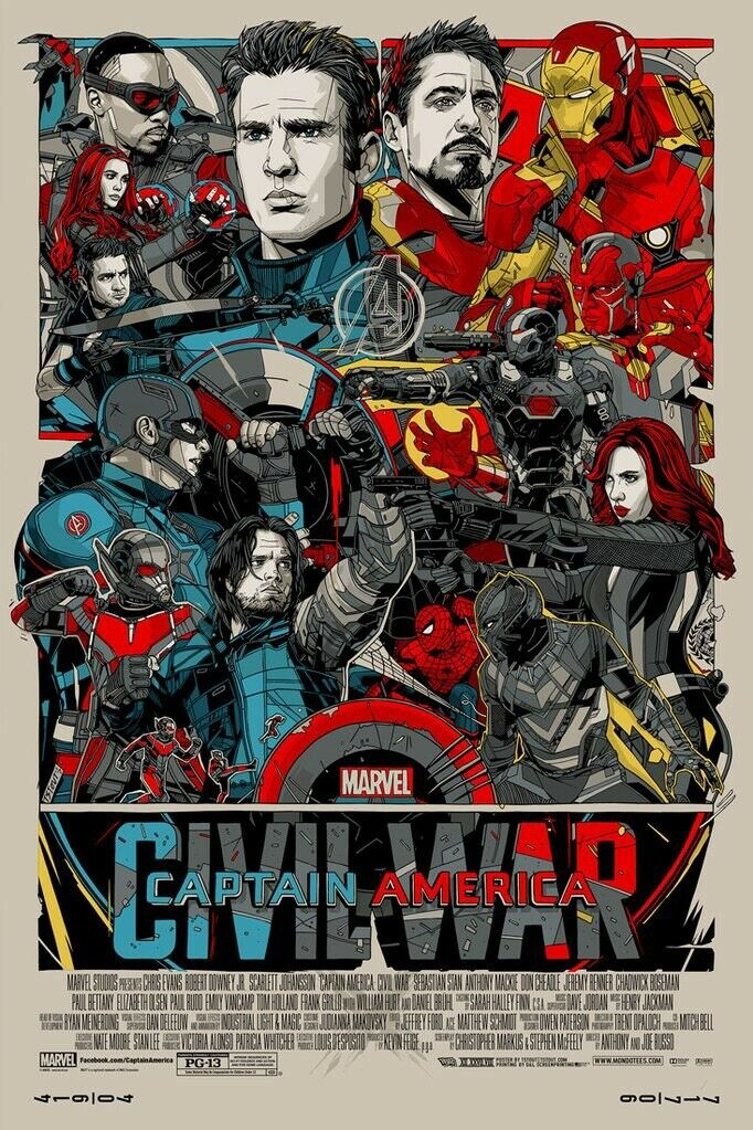 Wall Stickers Mondo.Us 4 34 11 Off N1890 Tyler Stout Capta America Civil War Marvel Mondo Movie Screen Wall Sticker Silk Fabric Poster Art Indoor Decor Bright In