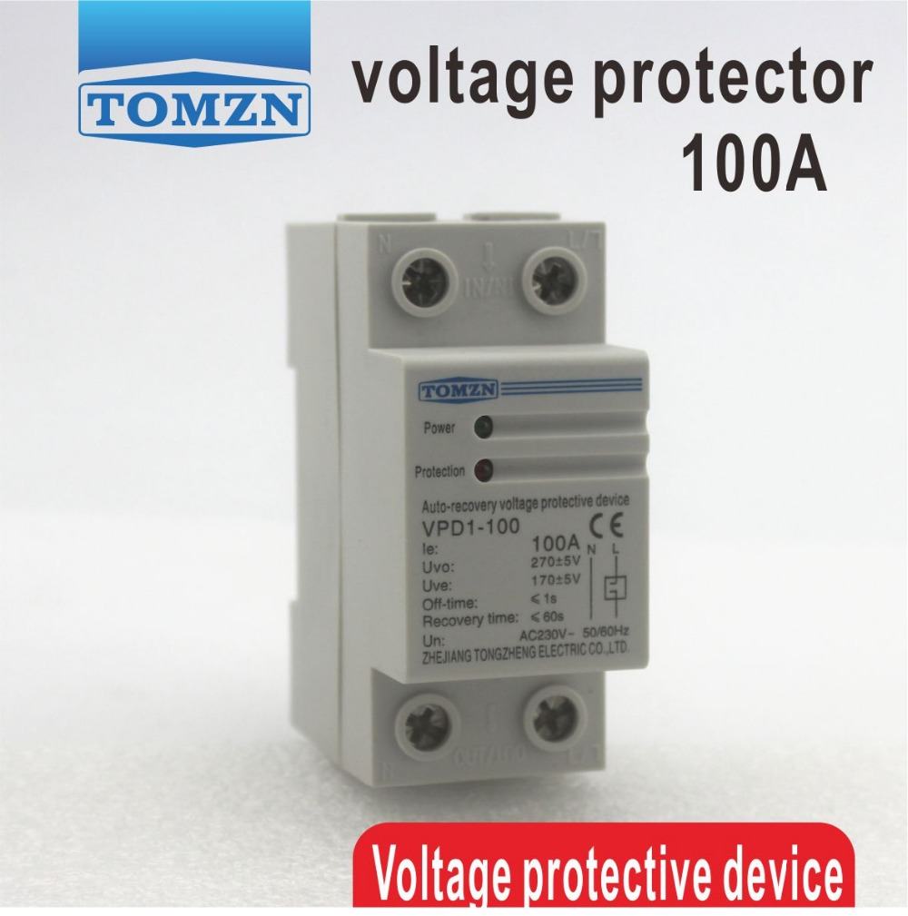 100A 230V Din rail automatic recovery reconnect over voltage and under voltage protective device protector protection relay100A 230V Din rail automatic recovery reconnect over voltage and under voltage protective device protector protection relay