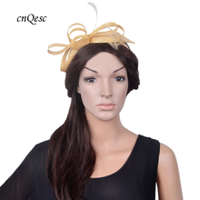 NEW Champagne gold mini fascinator Sinamay royal wedding hat for bridesmaid,Kentucky Derby,races