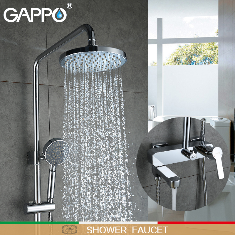 GAPPO shower Faucets wall mounted taps waterfall shower heads set brass shower mixer tap faucets for