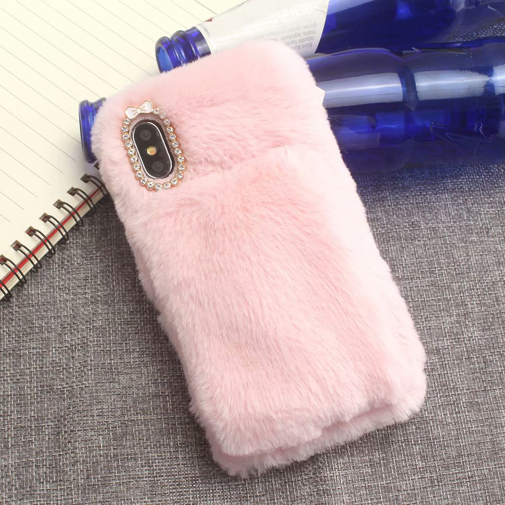KIP61432F_2_For iPhone 7 8 Hairy Warm Winter Bling Rhinestone Plush Phone Cover for iPhone XS XR 5S SE 6S 7P 8 Plus Hand Warmer Soft Case
