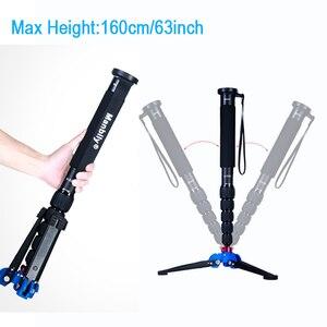 Image 2 - Manbily A 555 160 cm/63 inch Aluminium Reizen Monopod Statief Eenpootstatief Stok, KB 0 Balhoofd, m2 Base voor Canon Nikon Sony DSLR Camera