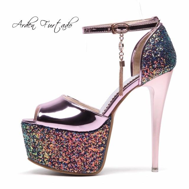 1b320117b1c7 Arden Furtado 2018 spring summer new platform sandals shoes for woman  fashion bling bling buckle strap peep toe shoes women