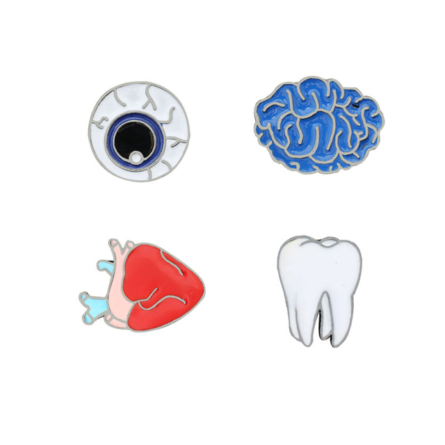 814eef5991 US $0.65 48% OFF|Mini Cartoon Human Organs Brooches Men Women Eye Medical  Brain Heart Tooth Enamel Lapel Pins Kids Backpack Metal Badges Jewelry-in  ...