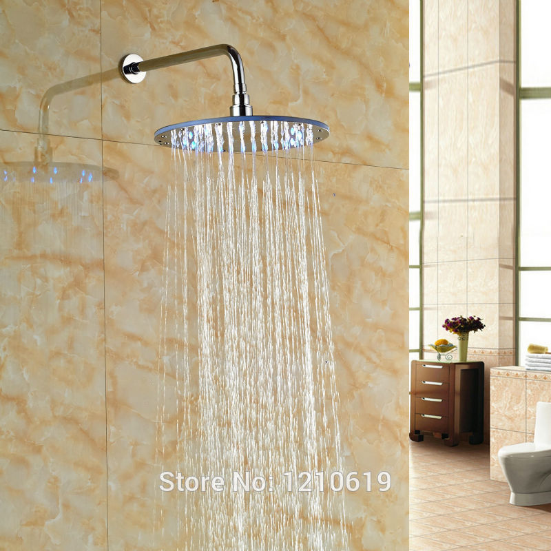 Newly Chrome Finish Rainfall Top Shower Head w/ Shower Arm LED Color Changing 12 Shower Sprayer Head