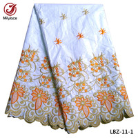Good Quality African Bazin Lace Fabric 5 Yards With Flower Embroidery 4 Color Available Water Soluble
