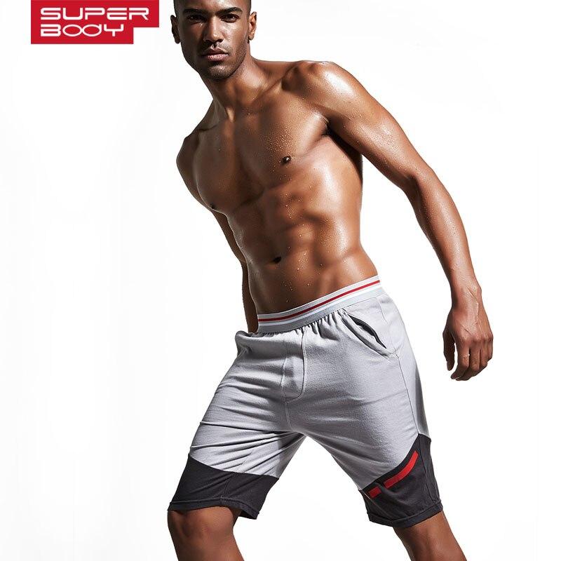 SUPERBODY brand clothing 100%cotton Mens Jogger Short Athletic Mens Sports Running shorts Gym Shorts Workout keen length short