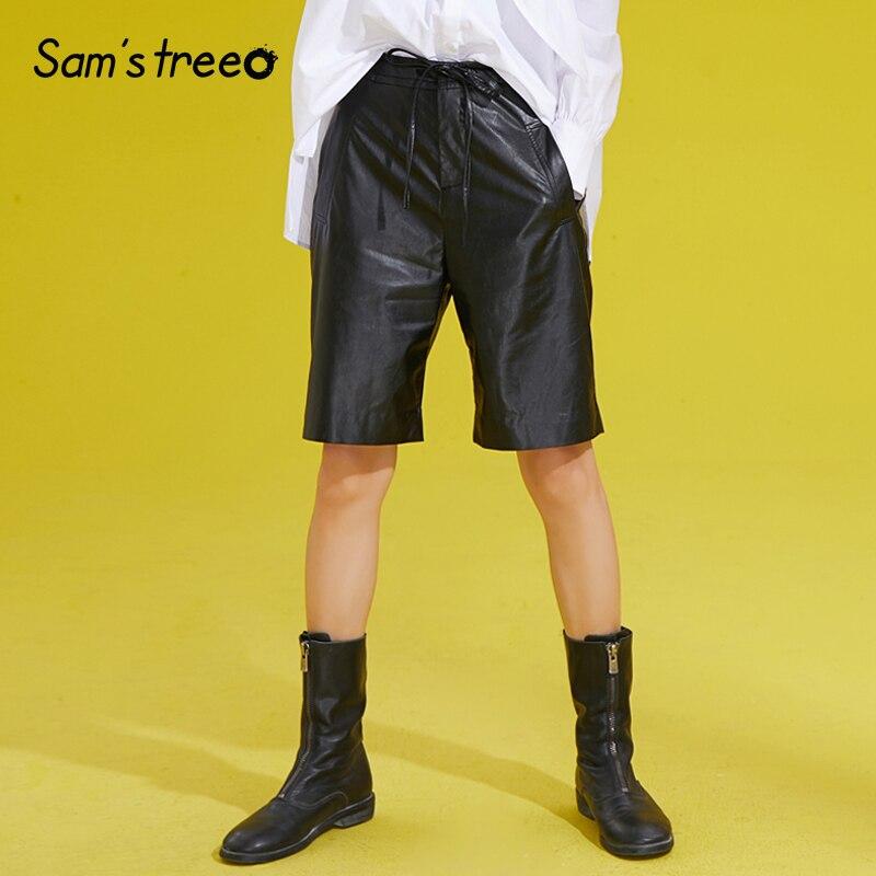 Femmes PU cuir moyen pantalon deux poches taille élastique femme mode noir en cuir pantalon