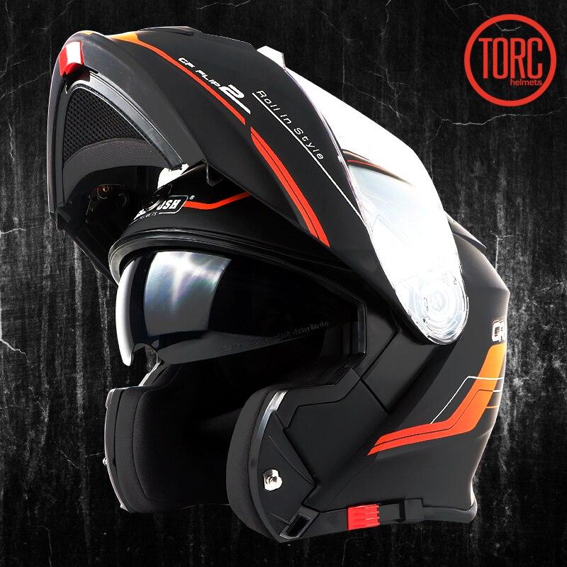 все цены на TORC Motorcycle helmet FLIP UP helmet motorbike motorcross full face helmet capacete cascos para moto ECE T271 racing helmet