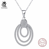 ORSA JEWELS Genuine Sterling Silver Women Necklace 925 Pendant With Chain Statement Bohemia Style AAA CZ