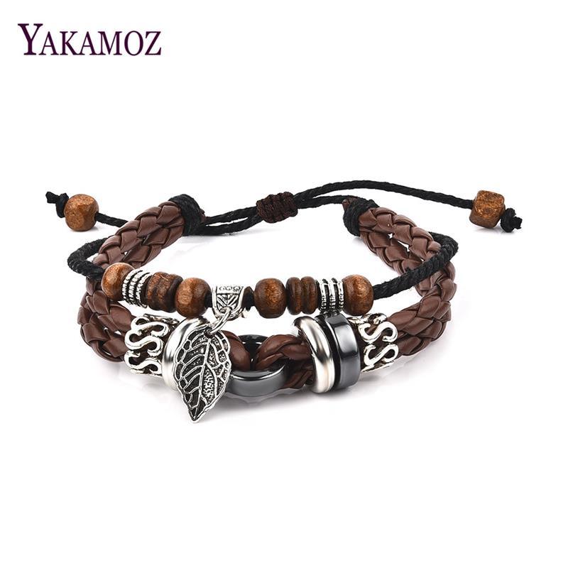 YAKAMOZ Punk Style Warp Leather Bracelet for Men Women Handmade Braided Leaves Bead Bracelet Retro Fine Accessories 2018