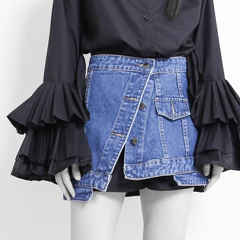 New Single Buckle Irregular Denim Women Girdle Belts Cummerbund Short Skirt Waist Seal Two Way Wear