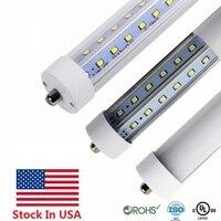 Акции в США + 45 Вт T8 светодиодный трубы 8ft одного пальца FA8 светодиодный трубы 4800LM светодиодный люминесцентная лампа, лампа лампы AC 85-265 В UL FCC