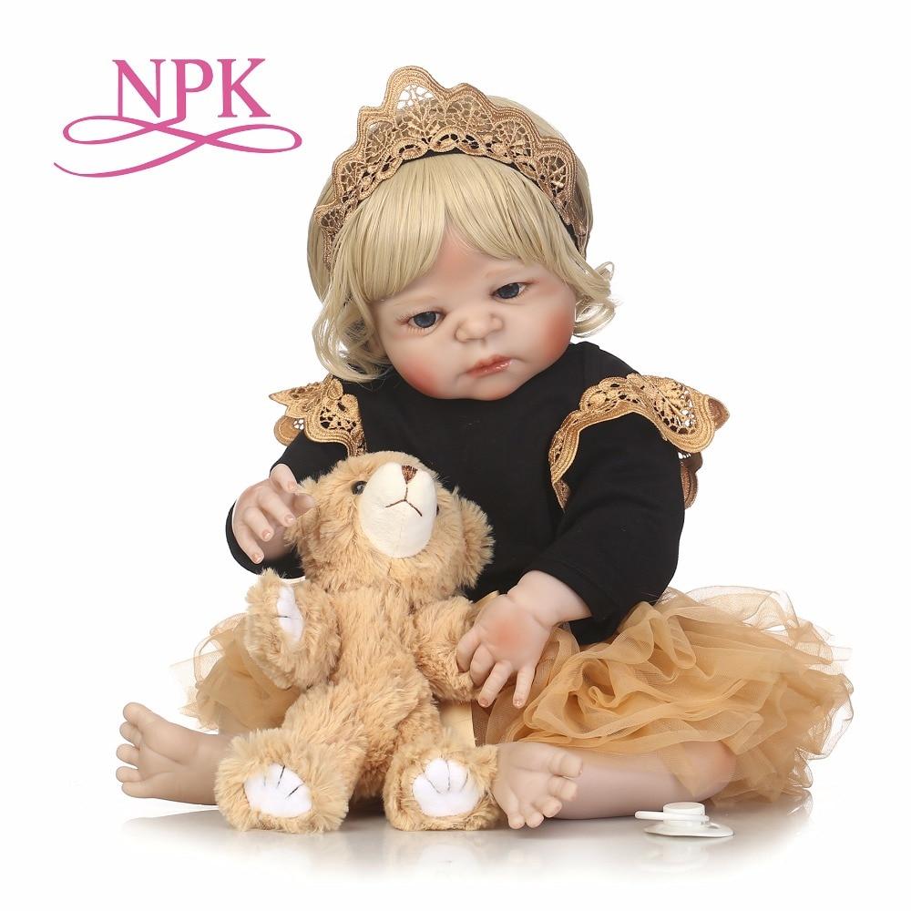 NPK 55cm full body Silicone reborn Baby Doll Girl Newbron Lifelike Baby-Reborn Princess Doll Best Gift for girl best accompany