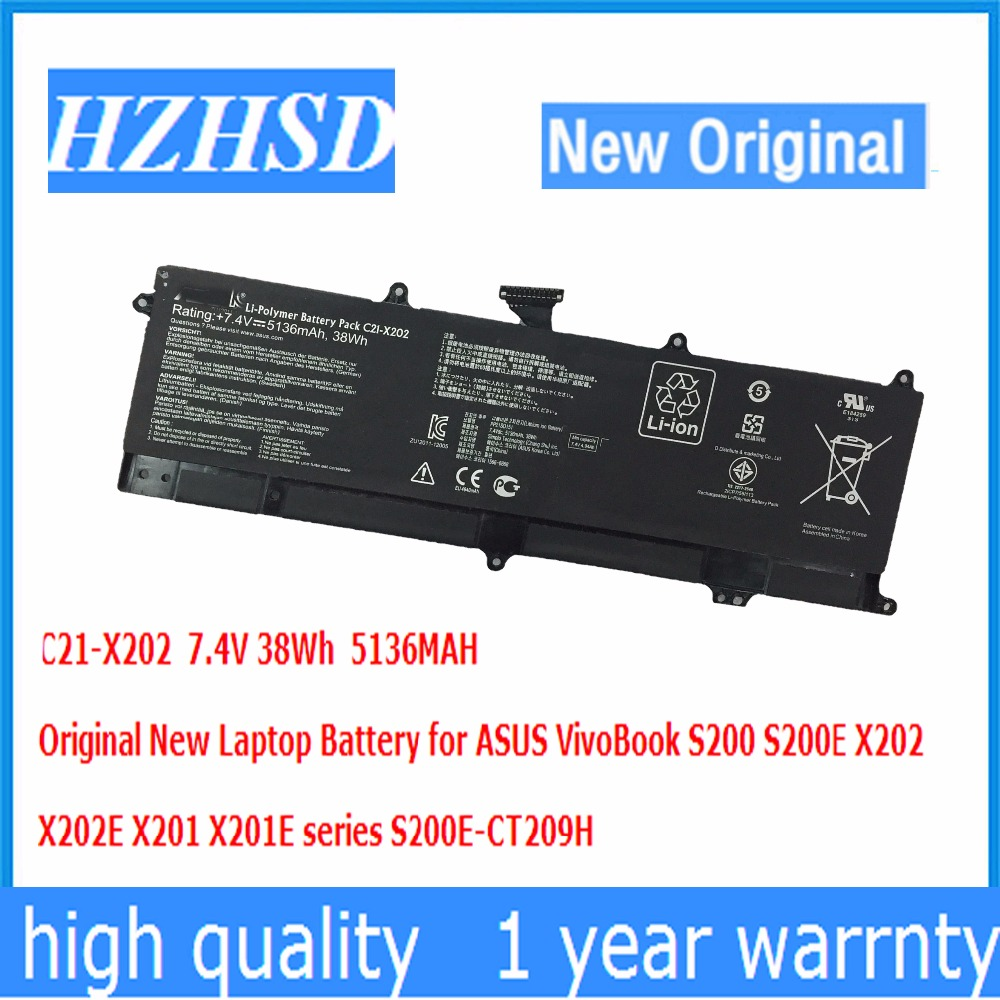 7.4V 38Wh 5136MAH Original New C21-X202 Laptop Battery for ASUS VivoBook S200 S200E X202 X202E X201 X201E series S200E-CT209H
