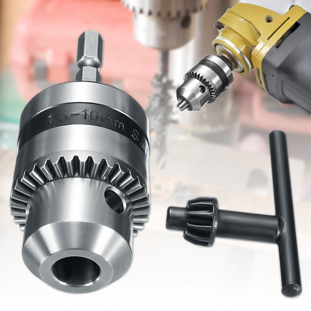 1PC 1-10mm Drill Chuck Driver Converter 3/8 Inch 24UNF With 1/4 Inch Hex Shank Key Adaptor 85x10x6mm Best Price