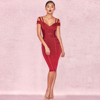 Bandage Dress Party Sexy Spring Evening Red Dress Backless Deep V Rayon Sheath Sleeveless Women Club