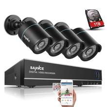 Sannce 8-канальный 1080N видео системы безопасности с 1 ТБ жесткий диск и (4) 1.0MP всепогодный пуля камеры с ИК-ночь