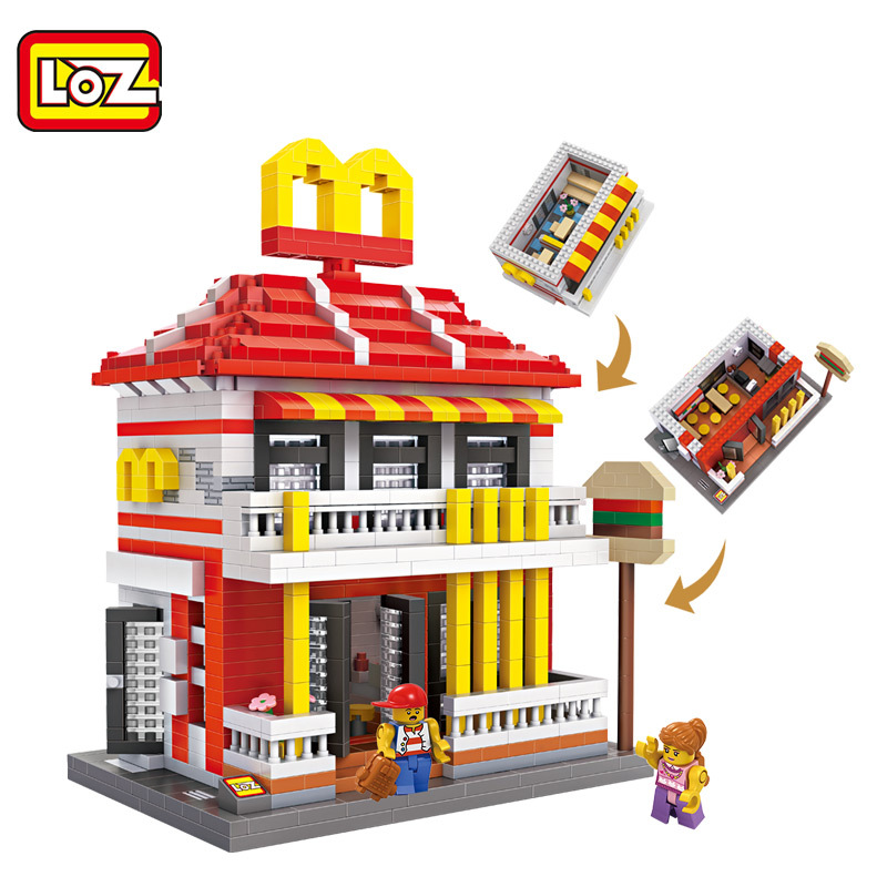 LOZ Classic Creator Series McDonaldes Diamond Building Blocks Toys Children 3D DIY Intelligence Model Toys Gifts New Arrivals mr froger loz dutch windmill diamond block world famous architecture series design diy building blocks classic toys children