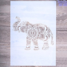 A4 A3 A2 Size DIY Craft Elephant Mandala Stencils For Walls Painting Scrapbooking Stamping Album Decorative Embossing Paper Card(China)