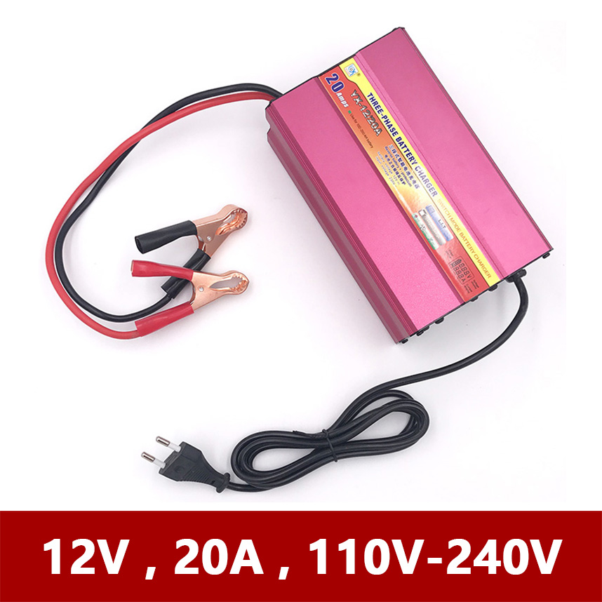 12V 20A Automatic Car Motorcycle Tricycle Boat Lead-Acid AGM GEL Battery Charger LCD Current Voltage Display 12 V Volt 20 A AMP цена 2017