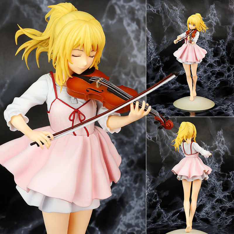 23cm your lie in april kaori miyazono Violin Action Figure Anime Doll PVC New Collection figures toys brinquedos Collection